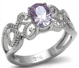 Stainless Steel Light Amethyst CZ Intertwined Band Ring, Sz 9