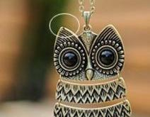 New Vintage Big Owl Pendant Necklace