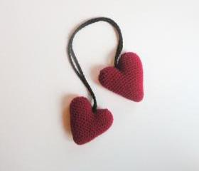 Plush Amigurumi Crochet Hanging Valentine Heart Stuffies in Maroon, ready to ship.