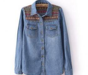 Vintage Dark Blue Denim Shirt