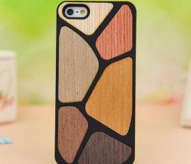 Six color puzzle colorful wooden case for iphone 5