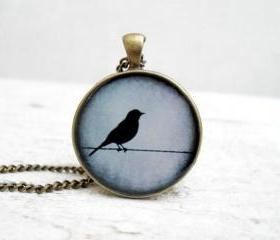 Grey Blue Bird Pendant Necklace, Nature Bird Pendant,Super Sweet Gift
