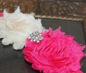 Pink & Ivory Shabby Flower Headband or Clip for Newborn Baby Infant Toddler Girl by miniME