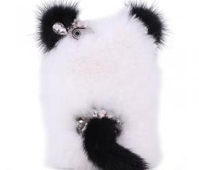 lovely panda With Ears and Tail soft fur Rhinestone case for iphone 4/4s