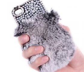 Sexy Rhinestone Winter Warm fur with Lace Cover for iPhone 4/4s