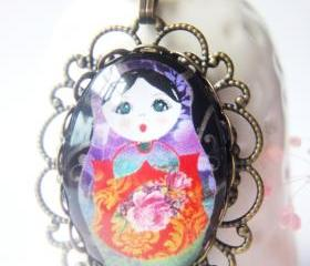 Handmade Gift Orange Matryoshka doll oval glass antique brass necklace