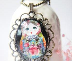 Floral pink rose russian doll girl oval glass antique brass necklace