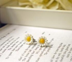 Vintage White Daisy Titanium Post Earrings. Innocence. Loyal Love.