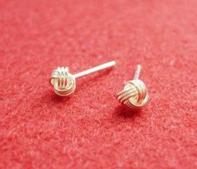 3 mm Small Bright Knot Silver Stud Earrings - Gift under 10 - Unisex - Guys Earrings - Men Jewelry - 925 Sterling Silver
