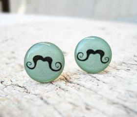 Mint Moustache Mustache Stud Earrings, Movember, Everyday Jewelry