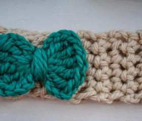 teal and cream bow crochet earwarmer