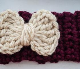 burgundy and cream bow crochet earwarmer