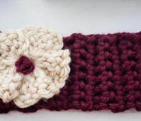 burgundy and cream flower crochet earwarmer