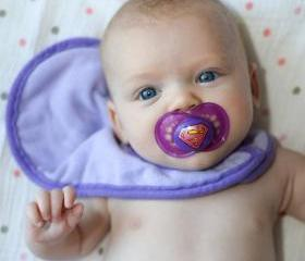 Super Baby on a Purple MAM size 6 month - Custom Hand Painted Pacifier