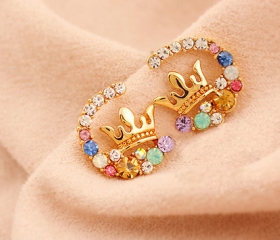 Crystal Circular Rhinestone Crown Style Earrings