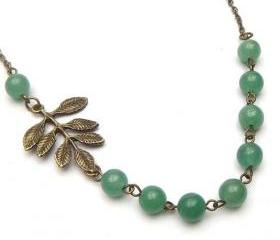 Antiqued Brass Leaf Green Jade Necklace