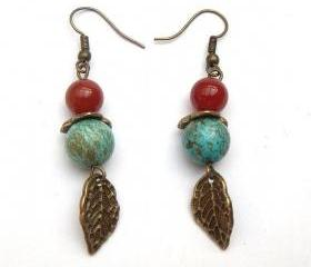 Antiqued Brass Leaf Turquoise Agate Earrings