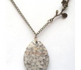 Antiqued Brass Branch Jasper Necklace
