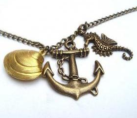 Antiqued Brass Seahorse Anchor Shell Necklace