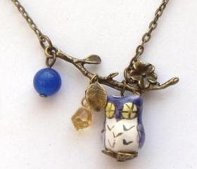 Antiqued Brass Leaf Blue Jade Quartz Porcelain Bird Necklace