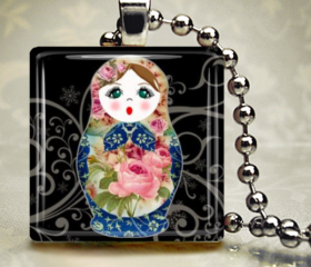 matryoshka doll girl peasant blue pink rose 1 inch glass tile necklace keychain