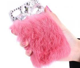 lovely soft fur Rhinestone case for iphone 4/4s-pink