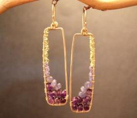Bohemian 82 Peridot, Tanzanite, and Amethyst Earrings