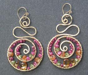Luxe Bijoux 136 Hammered swirl earrings wrapped with ruby, citrine, mandarin garnet & peridot