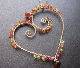 Necklace 167 Hammered heart wrapped with gemstones