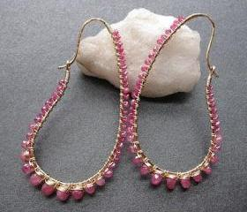 Luxe Bijoux 67 Hammered drops wrapped with ruby (choice of red or pink)