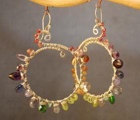 Luxe Bijoux 30 Hammered hoops wrapped with multi gemstones
