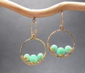 Bohemian 41 Hammered circles with chrysoprase