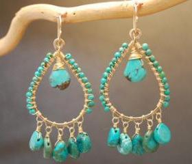 Aphrodite 55 Hammered drop hoops with turquoise
