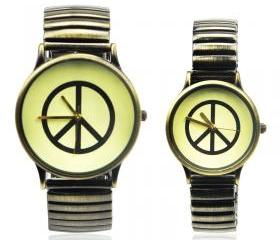 Vintage Style Peace Logo Couple Watches
