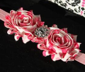 Valentine Pink White Heart Shabby Flower Headband