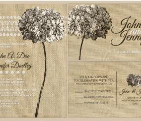 Cutom Budget Wedding Invitations//burlap floral wedding invitation //hibiscus flowers
