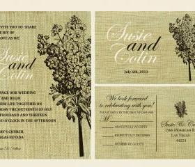 Cutom Budget Wedding Invitations//burlap floral wedding invitation //floral and birds on burlap background