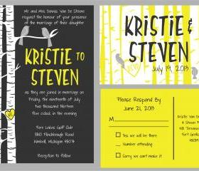 50 Budget Wedding Invitations and matching RSVP //birch tree and birds in yellow and grey//can be customized