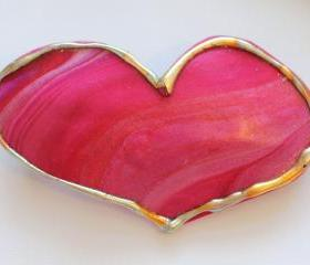 Heart Barrette, Hairclip, Valentines Day, Pink Barrette