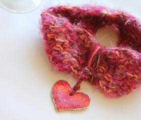 Pink Cowl Neck, Heart Drop, Mixed Art Fibers, Super Silky Soft and Warm