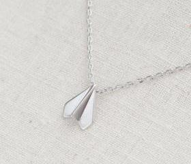 paper airplane necklace in silver