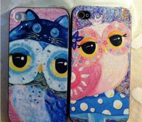 cute cartoon owl multicolour iphone 4/4s cases-lovers set