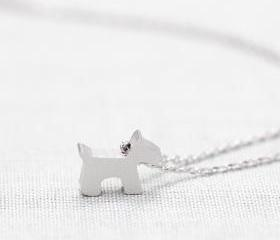 Cute Dog,puppy Necklace in silver