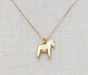 SALE-Tiny matte gold horse Necklace