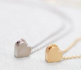 Tiny Matte silver heart necklace