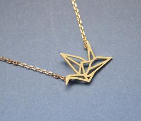 Origami Crane Necklace in matte gold