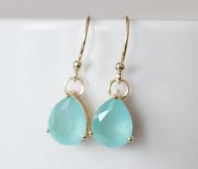 Mint glass drop gold plated earring