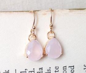 ICY PINK glass drop gold plated earring