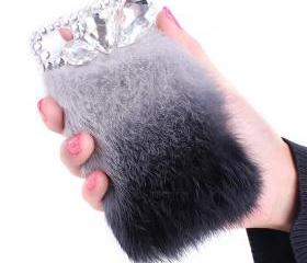 lovely soft fur Rhinestone case for iphone 4/4s-grey