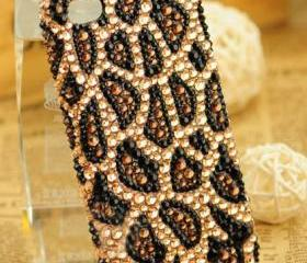 Cool Leopard Handmade Rhinestone Hard Cover Case For Iphone 4/4s